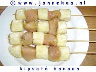 barbecue recept kipsate met banaan